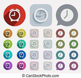 plat, set, iconen, moderne, vector, tijd