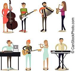 plat, set, iconen, musicus, vector, karakters