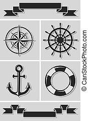 plat, set, iconen, ribbons., illustratie, vector, nautisch, design.