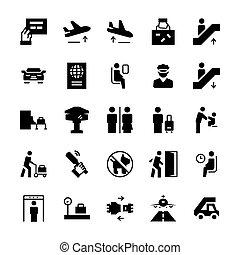 plat, set, iconen, symbols., luchthaven, vector, style.