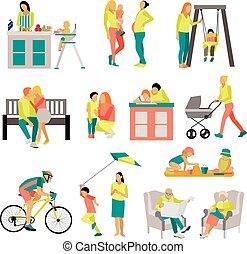 plat, set, iconen, toestanden, mensen, vrijstaand, illustratie, achtergrond., park., vector, thuis, witte , stijl