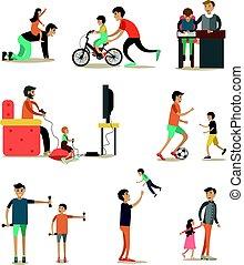 plat, set, iconen, vaders, vector, karakters, kinderen