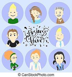 plat, set, icons., vector, illustratie, avatars.