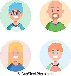 plat, set, icons., vector, ontwerp, karakters