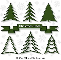plat, set, illustration., bomen., vector, kerstmis, design.
