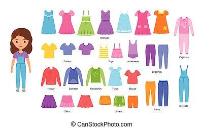 plat, set, illustration., clothes., vector, baby meisje, kleding, design.