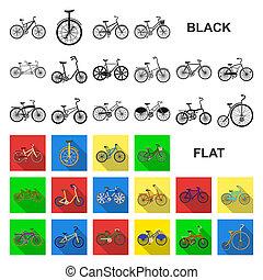 plat, set, illustration., iconen, symbool, verzameling, bitmap, bicycles, gevarieerd, web, design., type, vervoeren, liggen