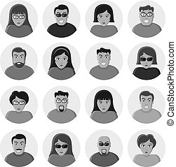 plat, set, illustration., icons., characters., vector