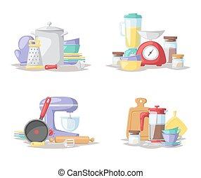 plat, set, illustration., vector, cook, gereedschap, keuken