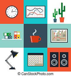 plat, set, kantoor, spullen, uitrusting, vector, objects.