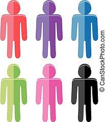 plat, set, kleurrijke, iconen, mensen, vector