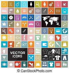 plat, set, kleurrijke, iconen, vector, plein