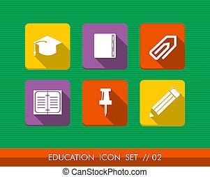 plat, set, kleurrijke, iconen, verzameling, opleiding