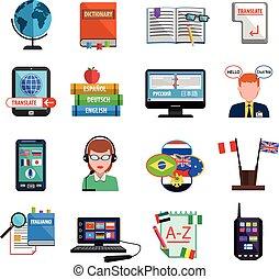 plat, set, kleurrijke, translator, multilanguage, pictogram