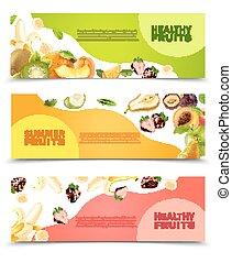 plat, set, kleurrijke, vruchten, horizontale banners