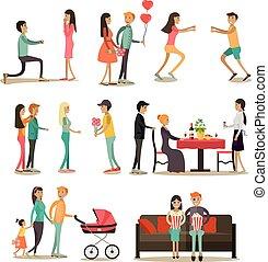 plat, set, liefde, iconen, mensen, vector