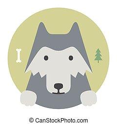 plat, set., loup, animal, portrait, graphics.