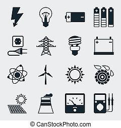 plat, set, macht, iconen, industrie, ontwerp, style.