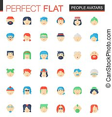 plat, set, mensen, avatars, icons., vector