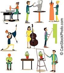 plat, set, mensen, iconen, beroep, vector, artistiek