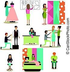 plat, set, mensen, iconen, vector, model, mode