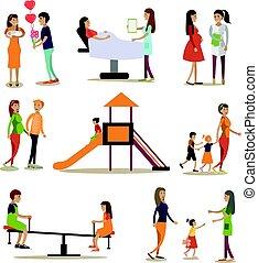 plat, set, mensen, ziekenhuis, iconen, kleuterschool, vector, moederschap