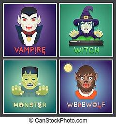 plat, set, monster, iconen, halloween, karakter, groet, ...