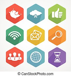 plat, set, netwerk, iconen, silhouette., sociaal
