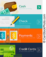 plat, set, online, ontwerp, concepten, betaling