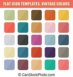 plat, set, ouderwetse , app, vector, backgrounds., palette.,...