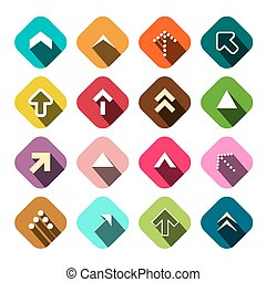 plat, set., pijl, icons., vector, richtingwijzer