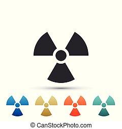 plat, set, radioactief, gekleurde, teken., straling, vrijstaand, illustratie, symbool., icons., achtergrond., vector, gevaar, vergiftig, witte , pictogram, communie, design.