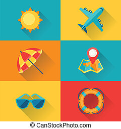plat, set, reizen, ontwerp, toerisme, style., pictogram