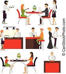 plat, set, restaurant, mensen, vrijstaand, spotprent, achtergrond., vector, ontwerp, karakters, iconen, witte , style., communie