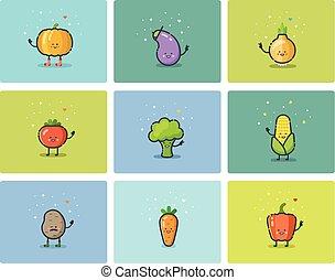 plat, set, schattig, iconen, vector, karakters, groente, spotprent