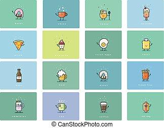 plat, set, schattig, voedsel beelden, vector, karakters, spotprent