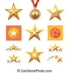 plat, set, star., goud, lijn, omtrek