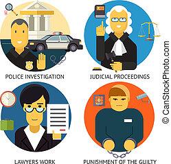 plat, set, straf, iconen, justitie, modieus, symbool, moderne, vrijstaand, wettelijk, misdaad, vector, ontwerp, illustratie, achtergrond, maatschappelijke diensten, verantwoordelijkheidsgevoel, wet, order