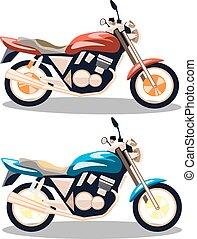 plat, set, style., motorfiets, iconen