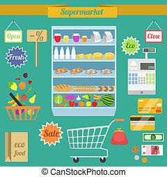 plat, set, supermarkt