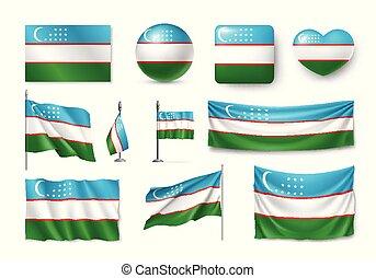 plat, set, symbolen, oezbekistan, banieren, vlaggen, pictogram
