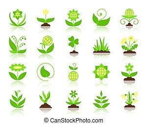 plat, set, tuin, iconen, eenvoudig, kleur, vector