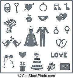plat, set, valentine, iconen, of, vector, huwelijksdag