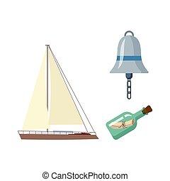 plat, set., vecotr, symbolen, nautisch, marinier, spotprent