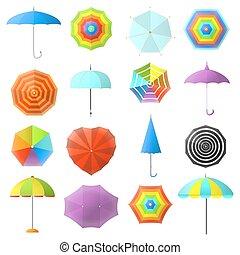 plat, set., vecteur, coloré, parapluies