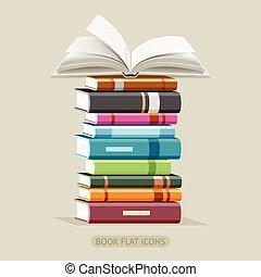 plat, set., vector, boek, iconen