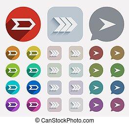 plat, set., vector, pijl, iconen