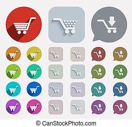 plat, set., vector, shoppen , iconen