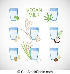 plat, set, vegan, vector, melk, pictogram