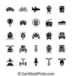 plat, set, vervoer, iconen, symbols., vector, style.